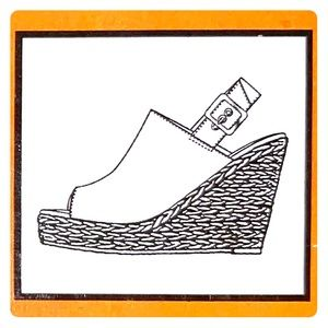 Shoes - Leather sling back with a woven wedged heel